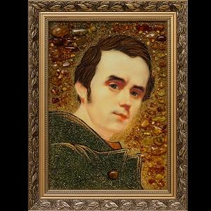 Изготовление портрета из янтаря по фото. Портрет Т. Г. Шевченко из янтаря в деревянной раме.